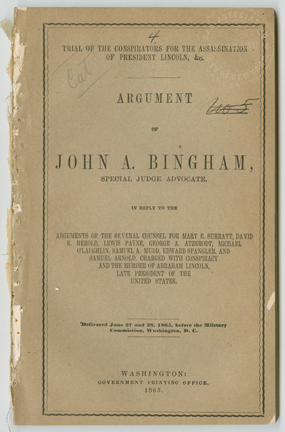 Washington, 1865. 122pp. Original printed wrappers, removed from a bound volume. A few chips and sho...