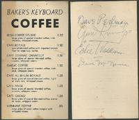 GENE KRUPA QUARTET SIGNED MENU FOR BAKER'S KEYBOARD COFFEE LOUNGE,  DETROIT, MICHIGAN