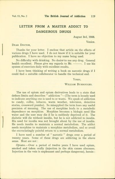 letter from a master addict to dangerous drugs n pl the british journal of addiction 1957 first edition trade paperback trade paperback fine