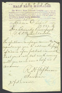 image of Telegram to Pierrepont from R.H. Stephenson, asking him to speak to the Republican Campaign Committee in Cincinnatti Ohio, Sept 28 1875