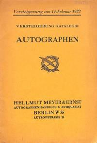 Sale 14 februar 1933. Katalog 30 : Autographen.