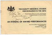 The Hazlett Memorial Awards for Excellence in the Arts Presented by Governor Dick Thornburgh, Commonwealth of Pennsylvania: An Evening of Award Performances, The State Theatre Building, Harrisburg, PA., Thursday, May 1, 1980, 7:30 p.m. by  Sabrina (production ass't)  Gregory L. (produced/directed by)/Lay - Paperback - Signed First Edition - 1980 - from Barbarossa Books Ltd. (SKU: 42732)