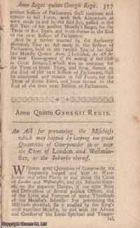 KEEPING OF GUNPOWDER ACT 1718 c. 26. An Act for preventing the Mischiefs which may happen by...