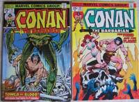 """Conan the Barbarian # 43 October 1974, with # 44 November 1974  -""""Tower of Blood""""  (Two comics part one & two) featuring """"Red Sonja"""" -adapted from the story """"The Tower of Blood"""" by David A. English  (WITCHCRAFT AND SORCERY) by  David A.; Re Robert E. Howard  John; The Crusty Brunkers (Neal Adams & Dick Giordano);  English - Paperback - First Edition First  Printing - 1974 - from Nessa Books (SKU: 006716)"""