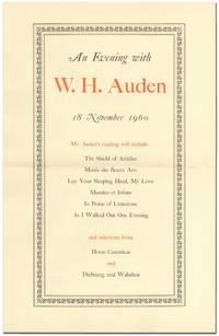 [Broadsheet]: An Evening with W.H. Auden 18 November 1960