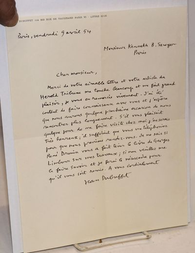 Paris: the author, 1954. Single page of Dubuffet's letterhead, with a penned letter to Sawyer in Fre...