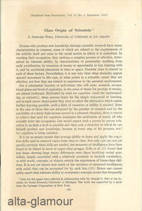 CLASS ORIGIN OF SCIENTISTS; Reprinted from Sociometry by  S. Stewart West - 1961 - from Alta-Glamour Inc. and Biblio.co.uk
