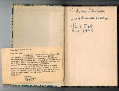 New York: Random House, 1945. SIGNED AND INSCRIBED BY AUTHOR on front endpage -