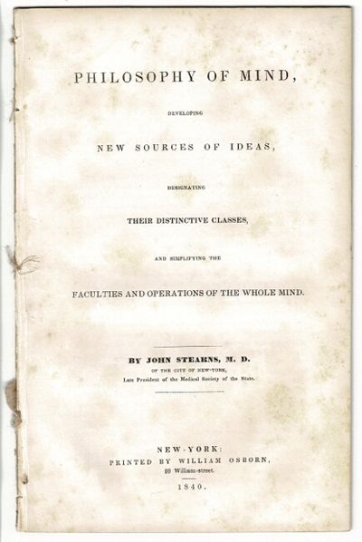 New York: William Osborn, 1840. First edition, 8vo, pp. 25, ; removed from binding, wrappers wanting...