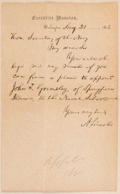 President Lincoln Seeks Appointment...