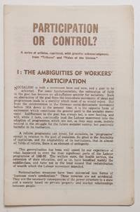 image of Participation or control? a series of articles, reprinted, with grateful acknowledgement, from 'Tribune' and 'Voice of the Unions.'