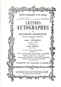 Bulletin no.834/Avril 2003: Lettres Autographes et Documents Historiques.