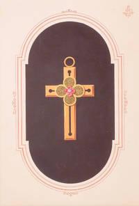 Original gouache design - crucifix with four red gems at centre.