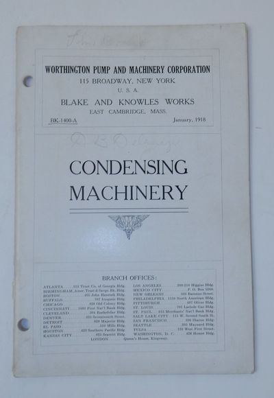 New York City: Worthington Pump and Machinery Corporation, 1918. First Edition. Wraps. Very Good. Fi...