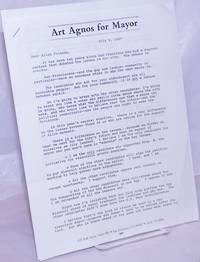 image of Art Agnos for Mayor [two page letter to Alice B. Toklas Democratic Club members]