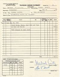 Traveling Expense Statement, Printed and Typed Document Signed for travel expenses related to the film, A Breath of Scandal, (also titled Olympia) 4to,  Vienna, May 19, 1959