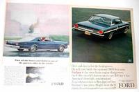 2 Original Ford  Advertisements: 1966 Ford Galaxie 500 XL; 1964 Ford Fairlane 500 Sports Coupe