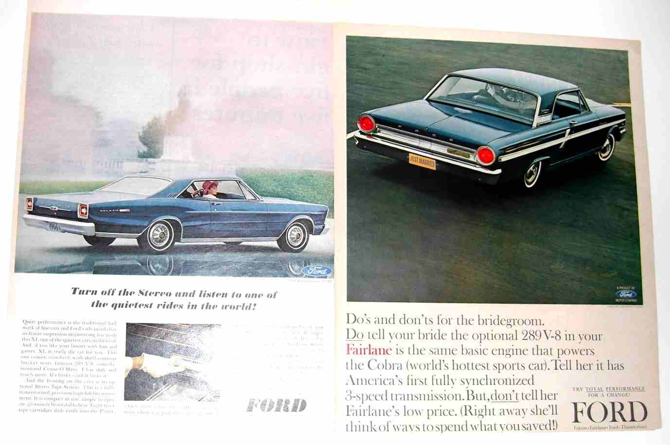 2 Original Ford Advertisements: 1966 Ford Galaxie 500 XL