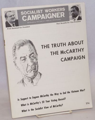 New York: Socialist Workers Campaigner, 1968. Pamphlet. 13p., wraps slightly worn, staples rusting, ...