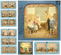 10 French Tissue Stereoviews - Children in Adult Situations from the Scenes Enfantines Series