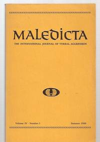 image of Maledicta: the International Journal of Verbal Aggression Volume IV Number  1 Summer 1980