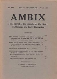 Ambix. The Journal of the Society for the History of Alchemy and Early Chemistry Vol. XXI, No. 2-3. July and November, 1974