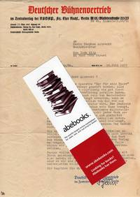 Letter (1937) to Herr Stephan Albrecht from Deutscher Buhnenvertrieb  [Nazi-Affiliated Organization]