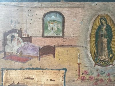 Mexico , 1945. Very good. A retablo, or laminas in Mexico, is a small painting on tin, zinc, copper ...