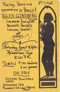 [Handbill for 1970 Poetry Reading Signed by Allen Ginsberg, Lawrence Ferlinghetti, and Kenneth Rexroth