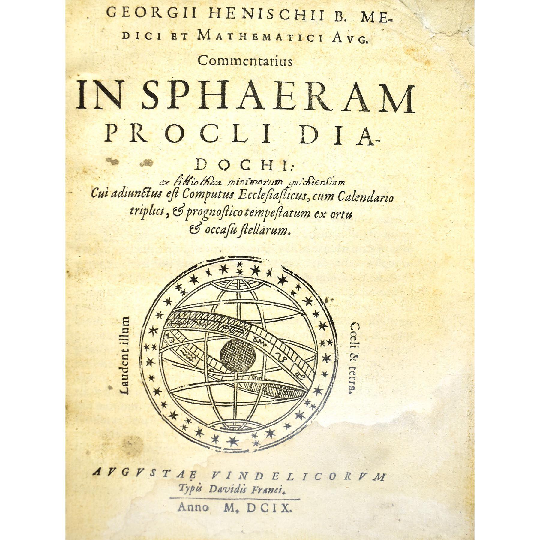 Commentarius in sphaeram procli diadochi Cui adiunctus est Computus Ecclesiasticus, cum Calendario triplici, & prognostico tempestatum ex ortu & occasu stellarum. (photo 2)