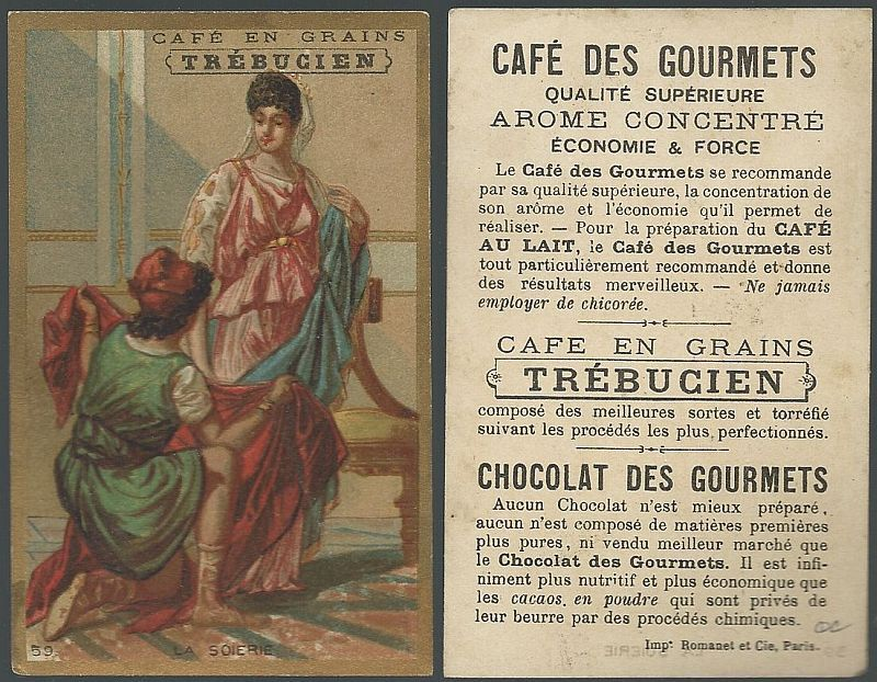 Image for VICTORIAN TRADE CARD FOR TREBUCIEN, CAFE EN GRANINS WITH CLASSICAL SCENE, LA SOIERIE
