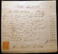 1870 Detailed Billing for Home Carpentry Work By M.S. Stone for a Home on Cove Street, Boston Massachusetts with Revenue Stamp