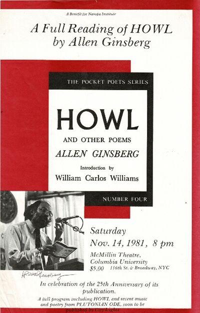 New York: publisher not identified , 1981. Folio broadside (approx.16½