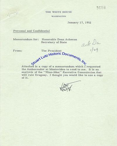 "HARRY TRUMAN (1884-1972). Truman was the Thirty-Third President. TLS. 1pg. 7"" x 9"". January 17, ..."