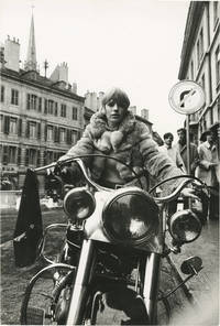 The Girl on a Motorcycle (Original oversize photograph of Marianne Faithfull from the 1968 British-French film) by Jack Cardiff (director); J.P. Bonnotte (photographer); Andre Pieyre de Mandiargues (novel); Ronald Duncan, Gillian Freeman (screenwriters); Alain Delon, Marianne Faithfull, Roger Mutton, Marius Goring (starring) - 1970