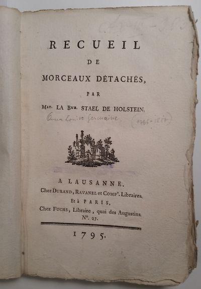 Lausanne: Chez Durand, Ravanel et Comp., et Paris, Chez Fuchs, 1795. 8vo. 195 x 132 mm. (7 3/4 x 5 1...