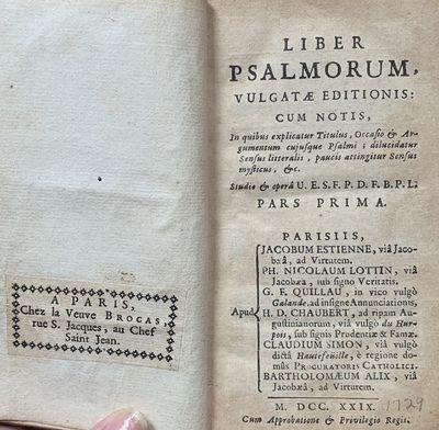 Paris: G.F. Quillau for Estienne, Lottin, Chaubert, Simon, and Alix, 1729. FIRST BELLENGER EDITION. ...