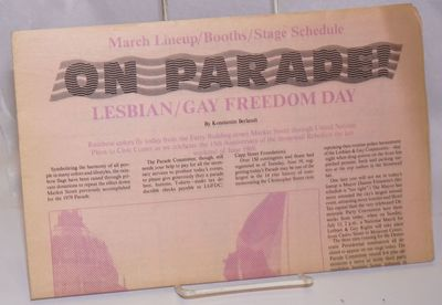 San Francisco: Lesbian/Gay Freedom Day Committee, 1984. Newspaper. maps, ads, essay, event schedule,...
