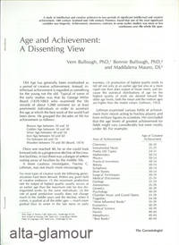 AGE AND ACHIEVEMENT: A DISSENTING VIEW; Reprint from The Gerontologist by  and Maddalena Mauro  Bonnie Bullough - 1978 - from Alta-Glamour Inc. and Biblio.co.uk