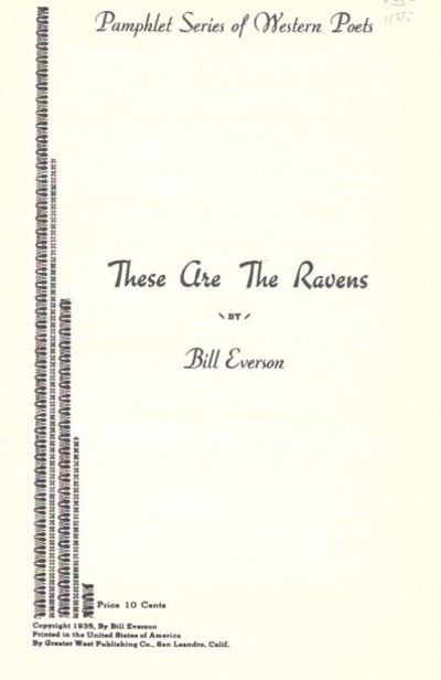 , 1985. Facsimile edition of the author's 1st book. Printed self wrappers, stapled. VG+ (minor wear ...