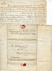 """Original manuscript letter 1844, re Austrian political situation, addressed to British M.P. from """"An American"""":"""