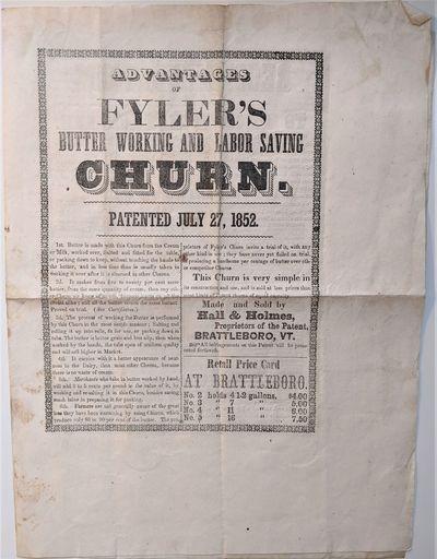 Brattleboro, Vt.: Hall & Holmes Proprietors of the Patent, 1853. Folio. 345 x 269 mm., . 4 pp. Text ...