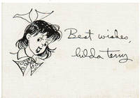 ORIGINAL DRAWING ON A CARD OF HER COMIC STRIP CHARACTER TEENA SIGNED BY AMERICAN CARTOONIST HILDA TERRY.