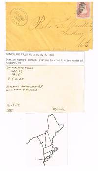 Cover carried on the Rutland & Burlington RR & postmarked with an agent\'s ticket stamper at Sutherland Falls, Vt. in 1865
