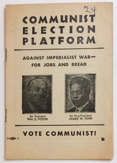 New York (printed in Cleveland): Workers Library Publishers, 1932. 16p., staplebound pamphlet, numbe...