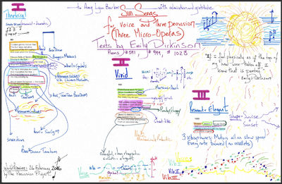 Original autograph manuscript executed in black and various brightly-colored inks. Signed