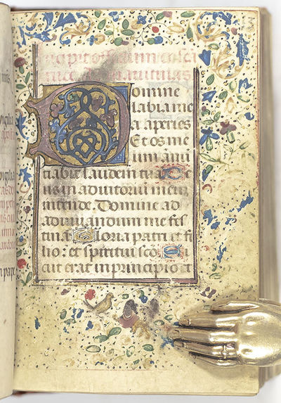 Exceptionally rare Franco-Flemish miniature illuminated Book of Hours. 16mo, bound in full 18th cent...