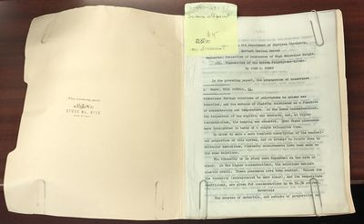 Other. 8vo, 21 leaves, tables; G-; buff folder with taped label and blue library stamp, carbon copy ...