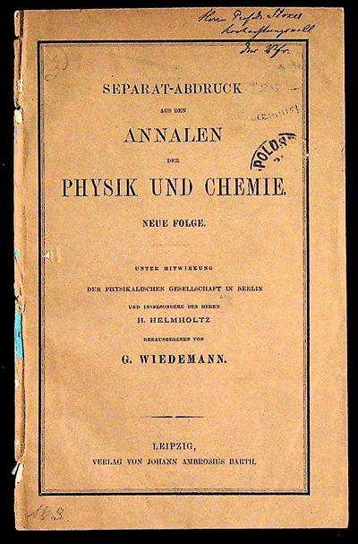 Leipzig: Verlag von Johann Ambrosius Barth, n.d., 19th c.. Paperback. Good +. Paperback. G+ in wraps...