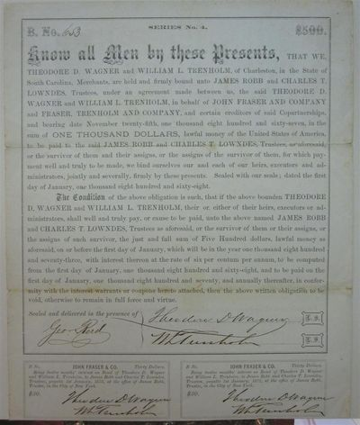 1868. unbound. 1 page, 10 x 8.5 inches, no place, January 1, 1868. Partly printed document signed